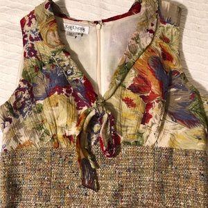 Amazing Kay Unger tweed dress with chiffon bodice